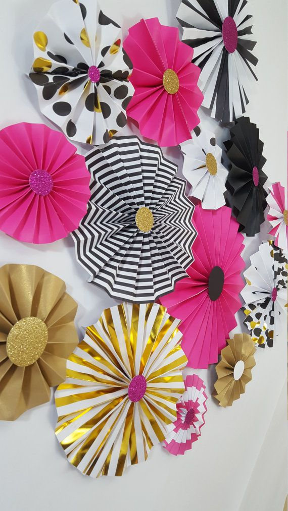 Kate Spade Inspired Black and Pink Rosettes Party or by eventprint  For a photo back drop!!!