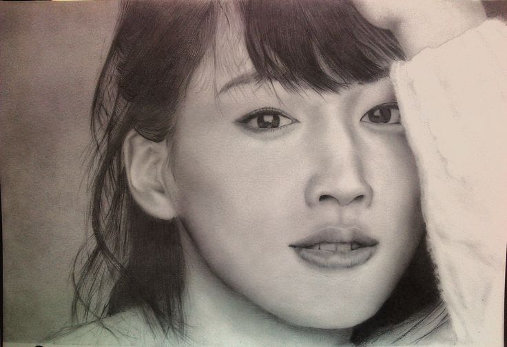 Sketsa wajah Haruka ayase  pensil di kertas A5