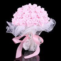 2015 Cheap White Ivory rose et blanc wedding bouquet Bridesmaid artificial flower rose bouquet Crystal bridal bouquet de mariage