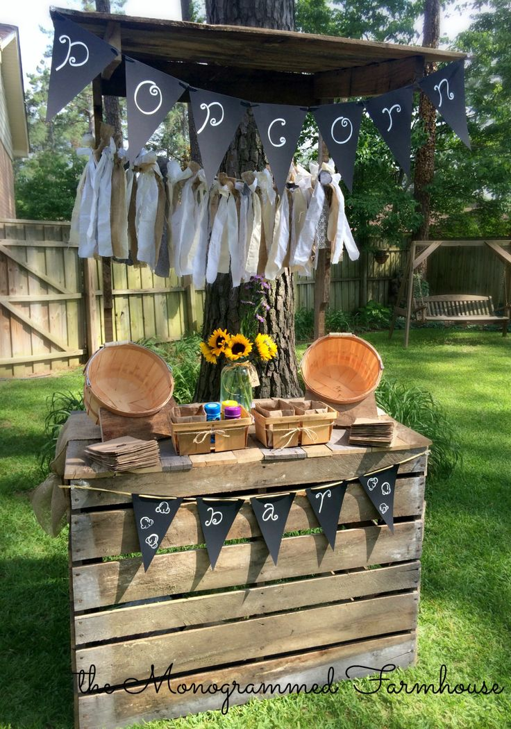 Pallet Popcorn Bar by the Monogrammed Farmhouse: Rustic Country themed Graduation party