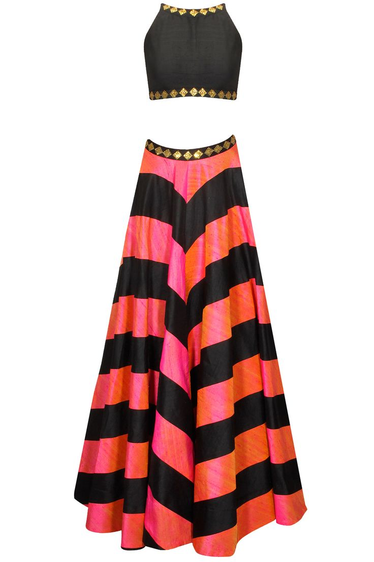 Black and pink zig zag lines sequins embroidered lehenga set available only at Pernia's Pop-Up Shop.