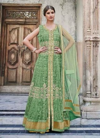 Marvelous Parrot Green Embroidery Work Net Wedding   Suit http://www.angelnx.com/Salwar-Kameez/Anarkali-Suits