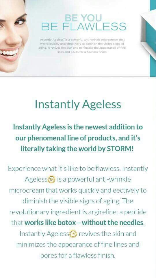 "Instead of ""going under the knife,"" why not try a product that works naturally with your body?! In less than 5 minutes, your flaws and wrinkles can be virtually diminished! Yes please!  www.inthismoment.jeunesse.com"
