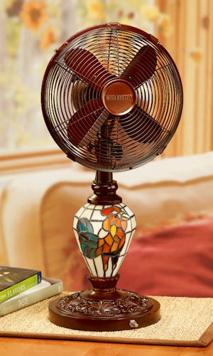 Look At This Mosaic Glass Rooster Table Fan