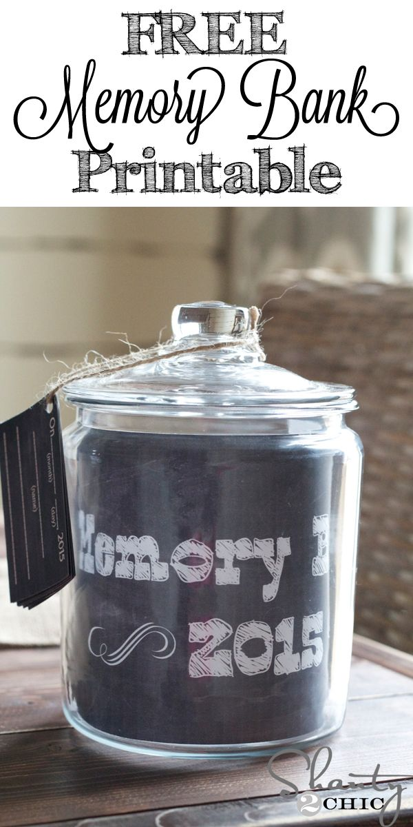 Free Printable for Memory Jar in 2015. Drop great memories from 2015 in the jar and open it up on New Year's Eve with the family! Such a fun tradition!