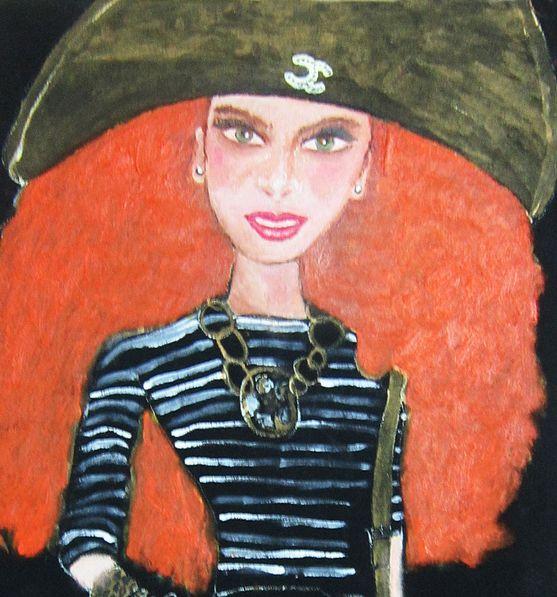 Fashionista-Pintura para tela y óleo (60x60cm)-PRECIO:300 dólares | Venta de Pinturas al óleo y acuarela de Patty Fernandini