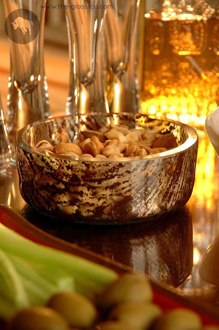 #Bar #Snacks #Bowl Modern bar snacks presentation with handmade glass bowl designed by www.the-glass-co.com ! Ask us at info@myglassstudio.com