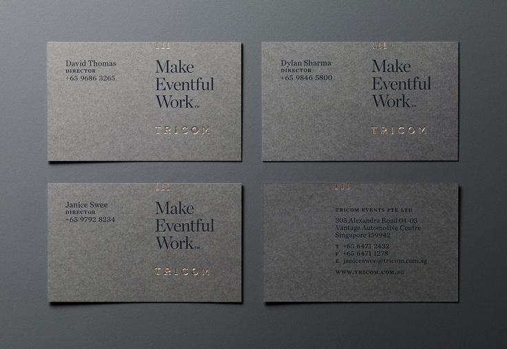 Gold foiled business card design by &Larry for event management agency Tricom.