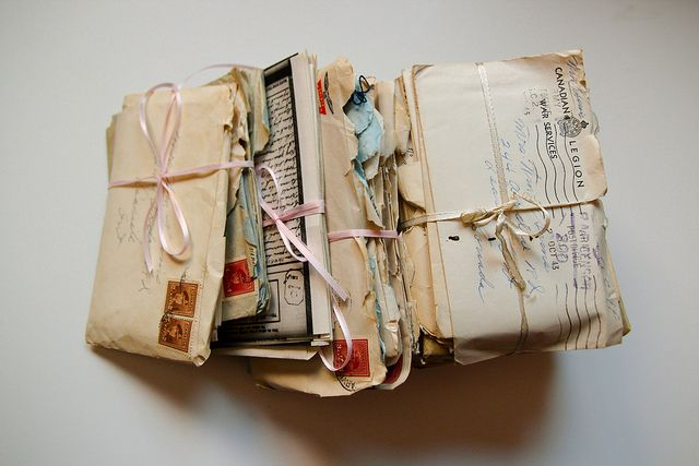 bundles of letters - kept by loved ones and cherished..read and reread.