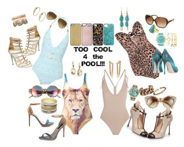 """Too cool 4 the pool"" by nacet ❤ liked on Polyvore featuring Fantas-Eyes, Sergio Rossi, Buccellati, Alexis Bittar, Betsey Johnson, Zimmermann, We Are Handsome, Express, Charlotte Russe and Biondi"