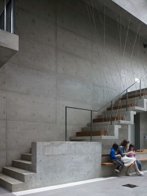 Taichung Church by AMBi studio  A stair detail that combines minimal and complex aesthetics.