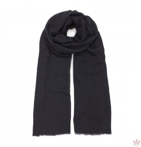 An extremely light and soft modal & cashmere blend for a classic plain black scarf with fringed edges 200cm x 90cm or (78,7 inches x 35,4 inches). Made Italy, free shipping.