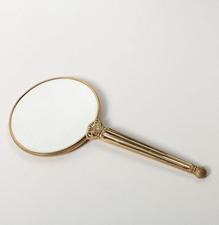 Hand Held Mirror with Floral Motif