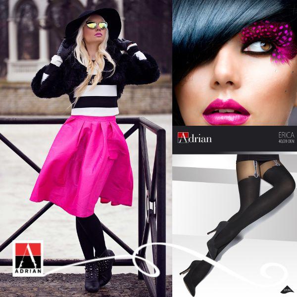 Postaw na kolor! Magneta doda Twojej stylizacji nowoczesności i charakteru. Świetnie sprawdza się w klasycznym połączeniu z bielą i czernią. #magenta #style #fashion #glamour #rajstopyadrian #adrian #adrianinspiruje #rajstopy #modern