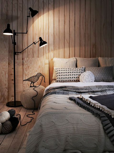 like the lamp and the cable knit blanket on bed