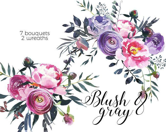 Une Fille Pink Purple Watercolor Flowers Line Botanical Elements Floral Bouquets  Peonies Clipart Wedding Clip Art Hand Painted PNG Graphics