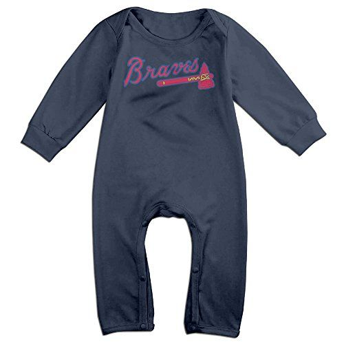 NORAL Babys Atlanta Baseball Braves Long Sleeve Romper Bodysuit Outfits Navy Size 24 Months *** See this great image @
