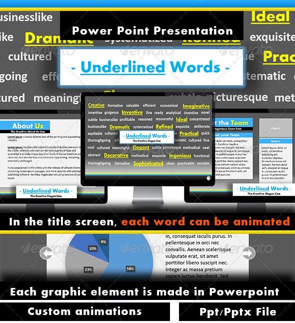 Underlined Words Power Point Presentation  #GraphicRiver               A businesslike presentation ready to be used in any type of project or business.An easy to edit theme with , astonishing graphics and amazing fonts.Also each word in the title menu can be easily edited and animated.      Font used: Arial Bold || Calibri (Body)     Created: 5September13 PresentationFilesIncluded: PowerpointPPT #PowerpointPPTX Tags: business #clean #easy #effective #efficient #functional #inovative…