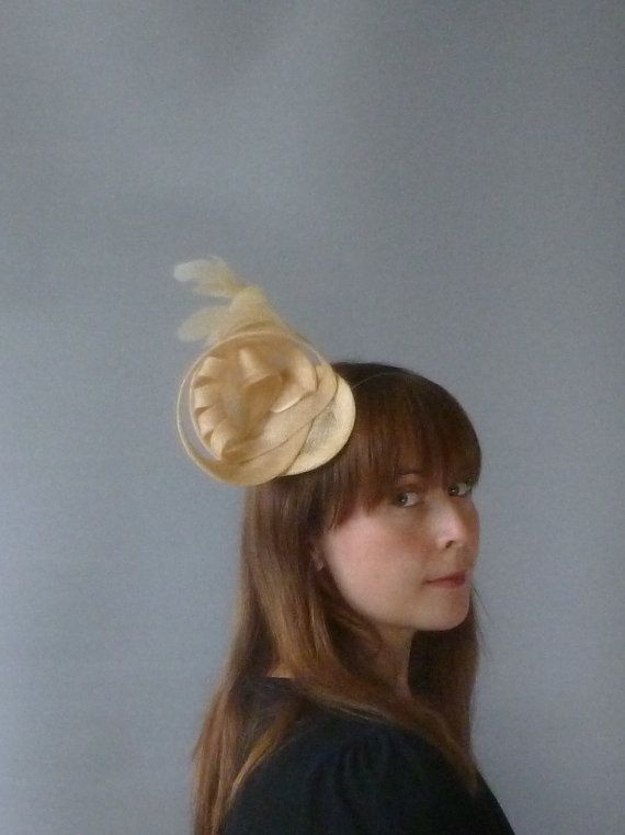 Yellow Fascinator Cocktail Hat. Sinamay and by SophieShields