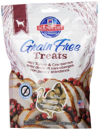 Hill's Science Diet Grain-Free with Turkey and Cranberries Dog Treat Bag, 8-Ounce - http://www.thepuppy.org/hills-science-diet-grain-free-with-turkey-and-cranberries-dog-treat-bag-8-ounce/