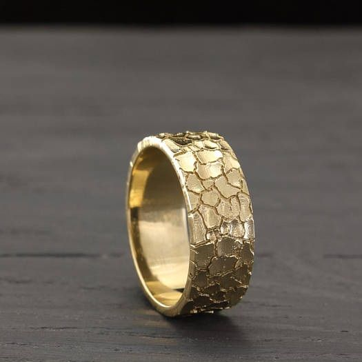 Dry Earth Unique Mens Gold Wedding Band By Wedding Rings Store