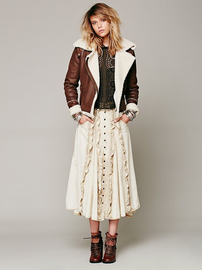 Free People FP New Romantics Ruffled Prairie Skirt
