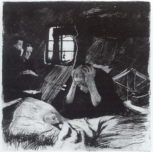 Kathe Kollwitz, Poverty  Kathe Kollwitz  (1867-1945)  Unlike Modersohn-Becker's robust and monumental depictions of motherhood, Kathe Kollwitz's imagery is marked by poverty stricken, sickly women who are barely able to care for or nourish their children. Kollwitz's art resounds with compassion as she makes appeals on behalf of the working poor, the suffering and the sick.