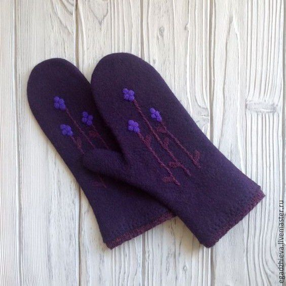 Купить Варежки валяные вереск варежки из шерсти - фиолетовый, варежки, варежки ручной работы