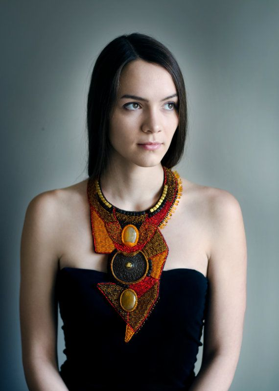 Statement long necklace - tribal African necklace - chunky bold necklace - extra long tribal necklace - beaded collar - embroidered jewelry -