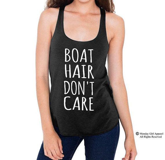 BOAT hair Don't Care Long hair parody shirt by MondayGirlApparel