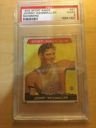 "Johnny Weissmuller 1933 Sport Kings PSA 2 - Card #21 In Set - ""Tarzan"" Actor !!"