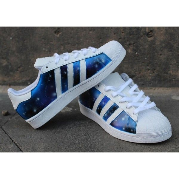 save off 48ced 0638a Custom Adidas Superstar Galaxy Shoes ( 195) ❤ liked on Polyvore featuring  shoes, grey, sneakers   athletic shoes, tie sneakers and unisex adult shoes