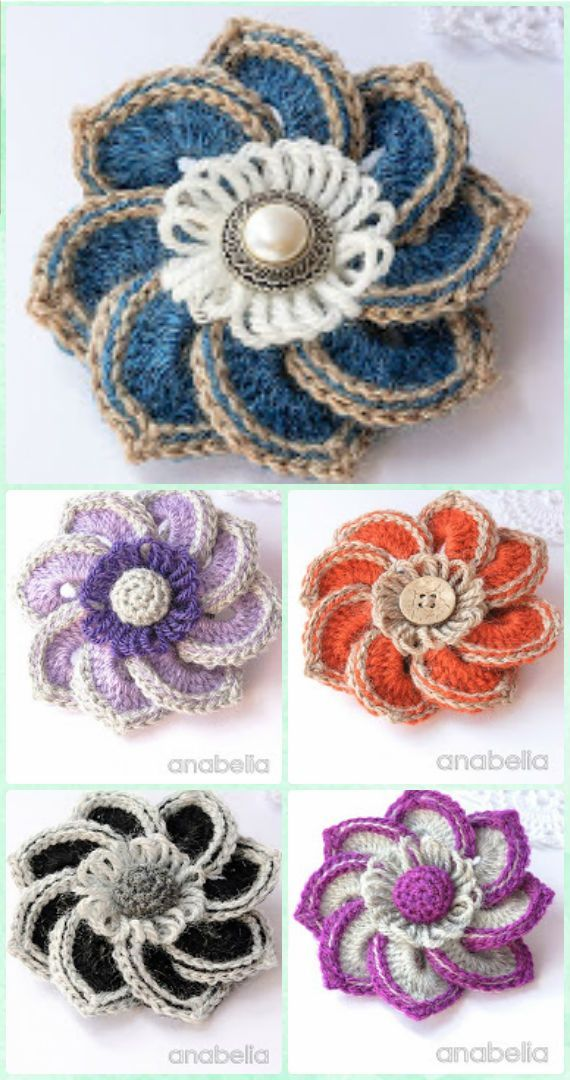 Crochet Star Flower Free Pattern - Crochet 3D Flower Motif Free Patterns