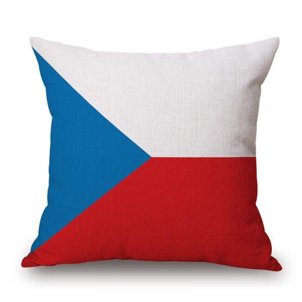 2016 Stylish European Cup Czech Flag Pattern Square Shape Flax Cushion Cover #women, #men, #hats, #watches, #belts, #fashion