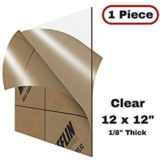 """MIFFLIN Cast Acrylic Plexiglass, Transparent Clear (12x12 Inch, 1 Piece) Plastic Sheet, 0.118"""" (1/8 in), for Display Cases, Signs, DIY Projects, Window Replacement, Greenhouses, Cabinets, Shelves"""