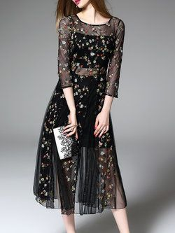 Mesh Statement 3/4 Sleeve Midi Dress