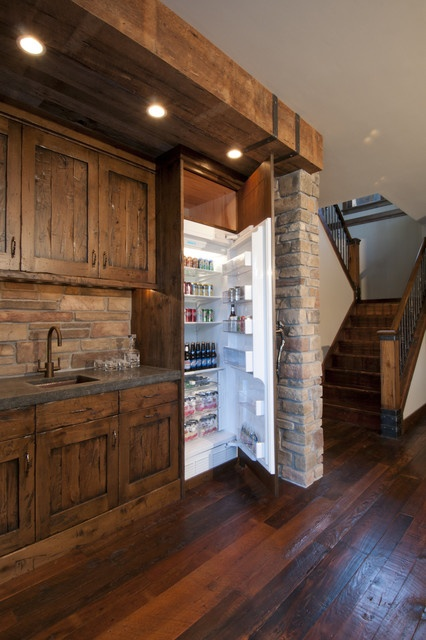 Rustic Basement Kitchen I love the wood but I would do like a stone tile floor instead