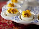 Trisha Yearwood's Recipe for Deviled Eggs - this is exactly how my Mama makes them as do I.  Sometimes I used dill relish and sprinkle with dill weed for a nice change.