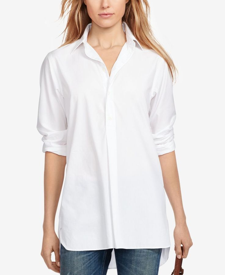 Inspired by the quintessential men's button-down, this crisp cotton broadcloth tunic from Polo Ralph Lauren features an elongated silhouette that enhances its effortlessly chic style. It's finished wi