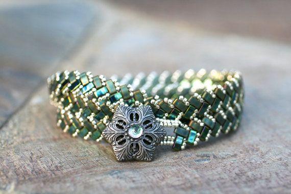 Green Triple Wrap Beaded Bracelet Half Tila Wrap by MindyG on Etsy