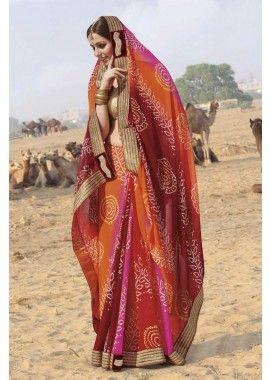 multi couleur georgette saree, - 94,00 €, #Sariindou #Robeindien #Robebollywood #Shopkund