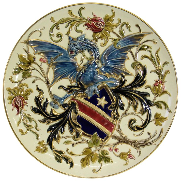 Majestic Wall Plate Attributed to Rudolf Ditmar Znaim, circa 1900 | From a unique collection of antique and modern ceramics at https://www.1stdibs.com/furniture/dining-entertaining/ceramics/