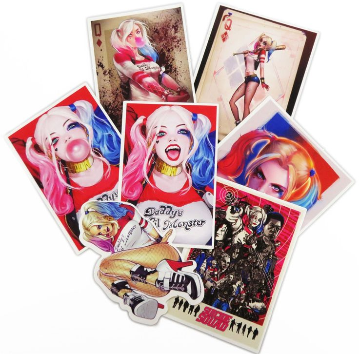 7 Pz/lotto Suicide Squad Harley Quinn Adesivi Snowboard Deposito Frigo Vinile Della Decalcomania Del Computer Portatile Auto Giocattolo DIY Jdm Sticker