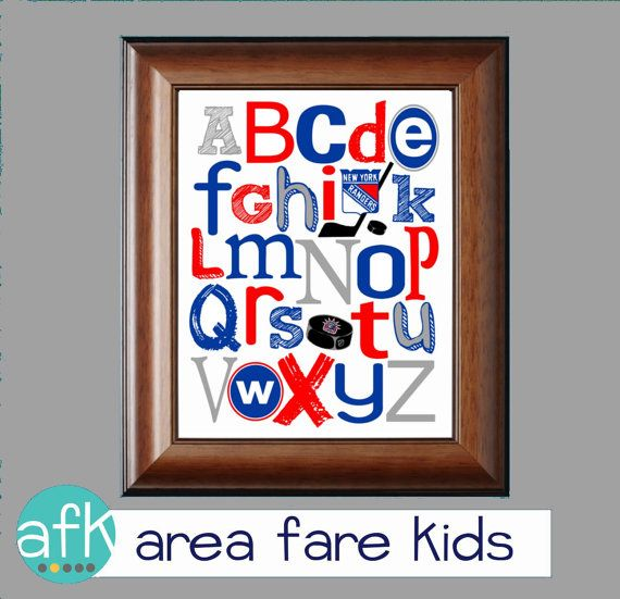 NY rangers hockey nursery art from Area Fare Kids on ETSY. .. listing at https://www.etsy.com/listing/186666791/new-york-rangers-hockey-abc-art-print
