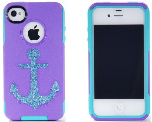 iPhone 4 Otterbox Glitter Case, Otterbox iPhone 4 Case, Glitter Ocean Anchor Purple iPhone4S Case, iPhone 4s Case, | 1Wi