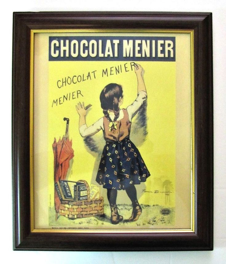 CHOCOLAT MENIER by FIRMIN BOUISSET 1893 Framed Vintage Advertisement Art Poster