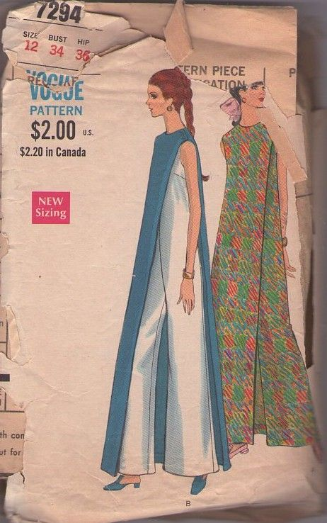 Vogue 7294 Vintage 60's Sewing Pattern The COOLEST Mod Op Art Hostess Jumpsuit with Attached Panel, Pantdress, Loungewear MUST SEE! #MOMSPatterns
