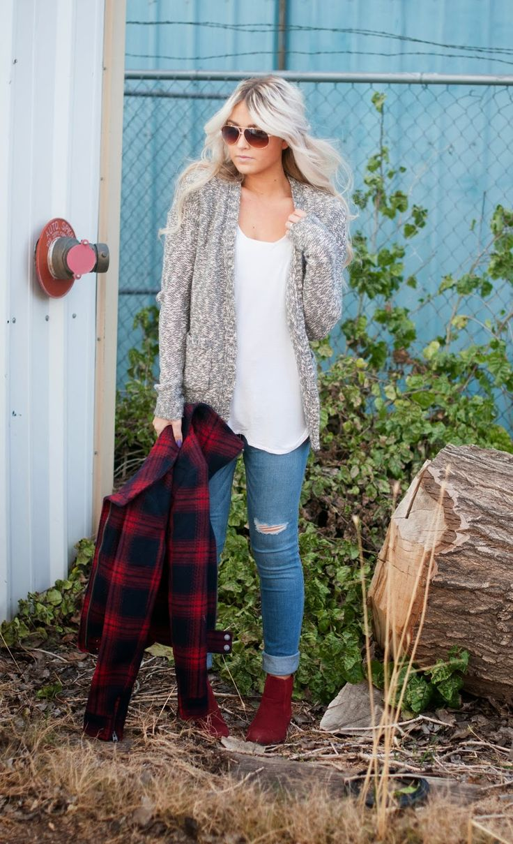 white tee + grey cardigan + medium wash jeans + red boots + plaid printed jacket + sunglasses