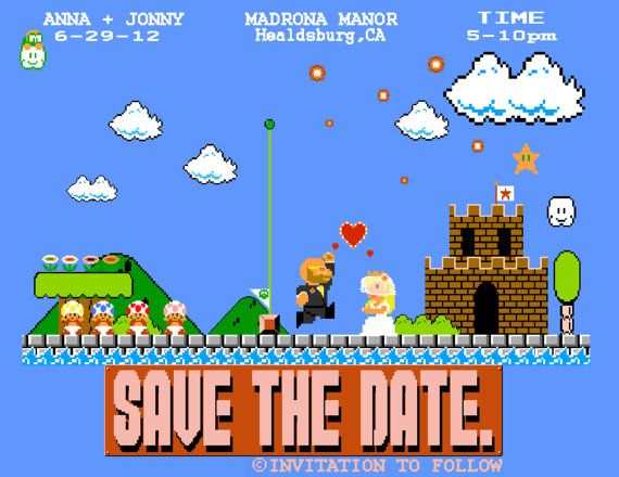Customized video game themed wedding invitation by ArtNerdForHire, $75.00