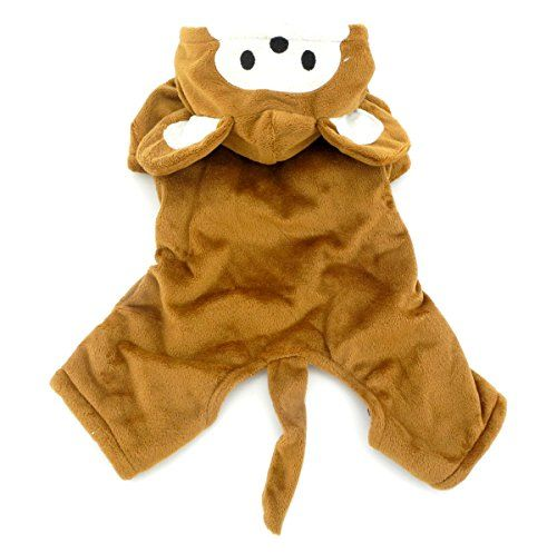 SMALLLEE_LUCKY_STORE Small Dog/Cat Halloween Fleece Monkey Costume with Hood Jacket Coat Brown Large Reviews